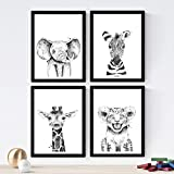 Set de 4 láminas de Animales Infantiles Blanco Y Negro ,en tamaño A4, Poster papel 250 gr alta calidad. Sin Marco