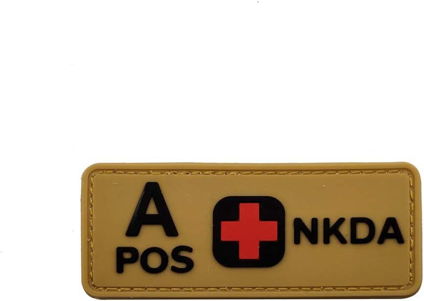 Ohrong PVC-Gummi APOS A+ Kampfarmband taktisches Milit/är Hut Patch Typ A Positive Blutgruppe NKDA Morale Applique Verschluss Abzeichen f/ür Jacken Jeans
