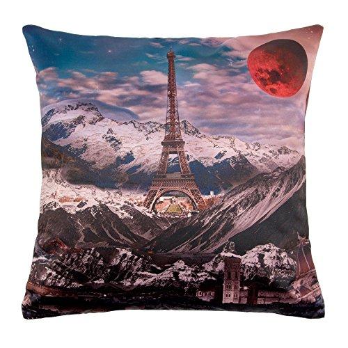 Madura Moonlight Paris - Funda de cojín (40 x 40 cm), Color Gris y Naranja