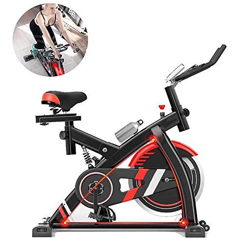 Hometrainer, Indoor Fitness Fiets, 8Kg Vliegwiel, Silent Belt Drive Cycle Bike met verstelbare Sturen & Seat, LCD-monitor, Fitness Bike En Ab Trainer, Ideal Cardio Trainer