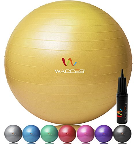 Wacces® Fitness and Exercise Ball (Yellow, 65 cm)