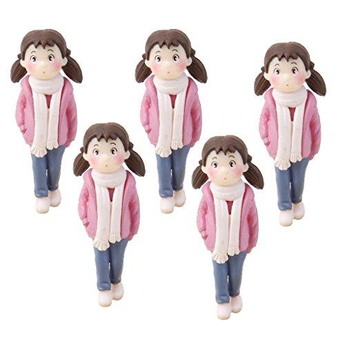 Lot de 5 Fille en Rose Miniature Décor pour Micro Paysage Bonsaï Bricolage
