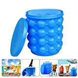 NEIJIANG Ice Bucket,Large Silicone Ice Bucket & Ice Mold with lid, Silicon Ice Cube Maker,(2 in 1) Space Saving Ice Cube Maker, Portable Silicon Ice Cube Maker