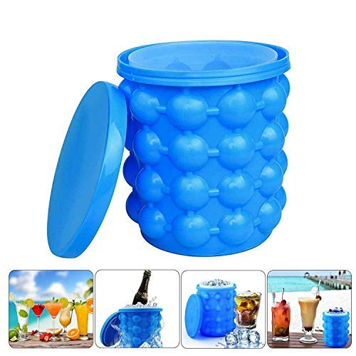 NEIJIANG Ice Bucket,Large Silicone Ice Bucket & Ice Mold with lid, Silicon Ice Cube Maker,(2 in 1)...