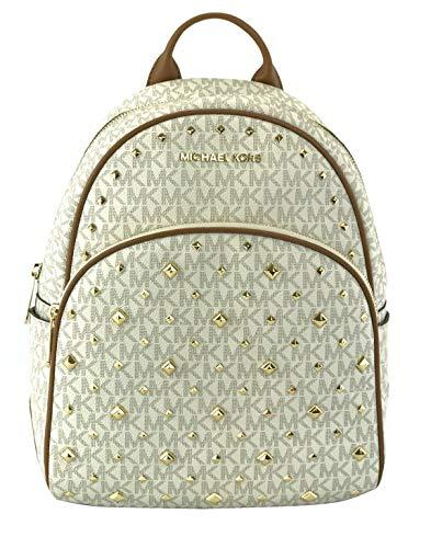 Michael Kors Abbey Monogramme Studded Medium Backpack Vanilla / Acorn