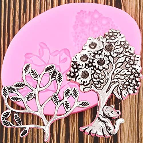 ANGYANG Moldes De Silicona De Árbol De La Vida 3D Flor Hoja Gato Molde para Fondant Herramientas De Decoración De Pasteles Arcilla Caramelo Moldes De Pasta De Goma De Chocolate