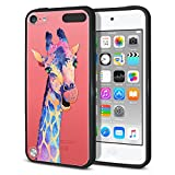 FINCIBO Case Compatible with Apple iPod Touch 5 6 7th Gen 2019, Slim Shock Absorbing TPU Bumper + Clear Hard Back Protective Cover for iPod Touch 5 6 7 - Colorful Giraffe