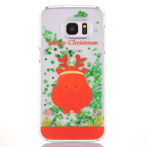 SpiritSun Funda para Samsung S7 Edge, Carcasa con Líquido y Transparente, Silicona Dura Case Bumper TPU Tapa Trasero para Samsung Galaxy S7 Edge Anti Rasguños Protector Caso - Cerdo de Navidad