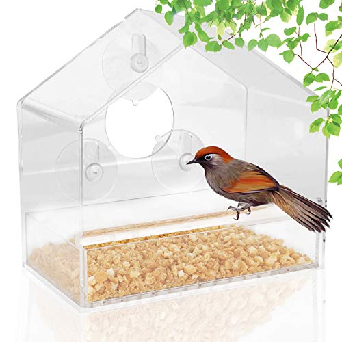 Colmanda Comedero Acrílico para Ventana con Ventosas, Birdhouse Colgantes Nido de Pájaro Transparente, Extraíble Dispensador de Comida para Gorriones y Pájaros Pequeños(Birdhouse )