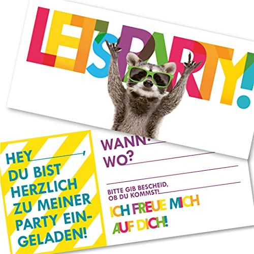 12 Racoon Einladungskarten | lustige Einladung zum Kinder-Geburtstag für Jungen Mädchen und Erwachsene | passend zu jeder Party (12 Einladungskarten mit 12 weißen Kuvert)