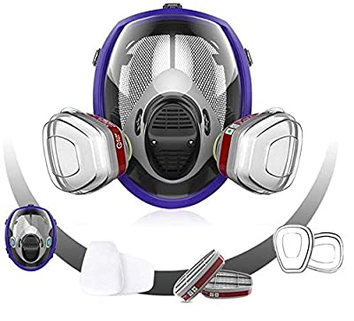 Respirator Gas Mask, Chemcial Full Face Respirator Widely Used in Organic Gas,Paint Spary, Chemical,Woodworking,Dust Protectio by SFXYJ