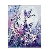 FVNR DIY pintura por números para adultos DIY Lienzo Set de arte de pared regalo mariposa flor mejora la habilidad de la mano 16 x 20 pulgadas sin marco