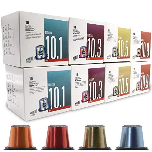 ONCAFFÉ CAPSULAS NESPRESSO COMPATIBLES, Hecho en Italia, Surtido de 80 unidades, 4 sabores 20 Intenso, 20 Descafeinado, 20 Clásico y 20 Arabica, maquinas Nespresso, la calidad que buscas