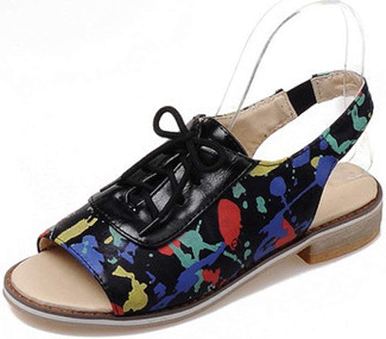 Gcanwea Women's Trendy Print Peep Toe Sling Back Lace-up Stacked Low Heel Sandals Summer Breathable Literature Fashion Non-Slip Non-Slip Romantic Flexible Joker Comfortable Silver 6 M US Sandals