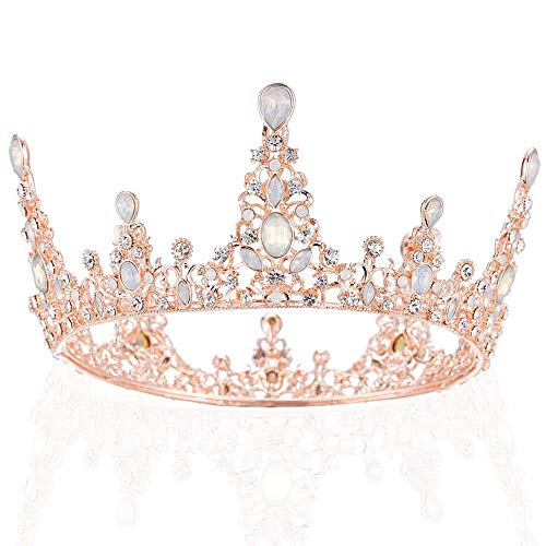 Opal Baroque Queen Crown, Rhinestone Wedding Crown and Tiaras for Bride Handmade Headband Jeweled Tiara for Women and Girls – Wedding Halloween Birthday Faire Costume Music Festival Hair Accessories (Rose Gold)
