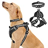 No Pull Dog Harness - It's a ideal solution for pulling with the unique design. All the points of pressure contact are on dog's shoulders and chest, instead of their necks,choking-free and no neck injuries during sudden pulls. Customizable Fit - 5 ea...