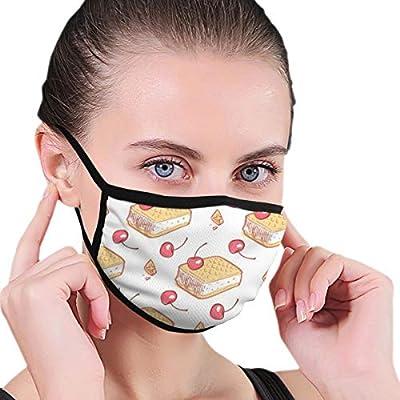 Masks Doodle Waffels Ice Cream Cherries Seamless Pattern Reusable Face Mask For Kids Teens Men Women
