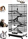 """Mcage Large 32""""L Indoor Small Animal Rabbit Cage Small Animal Hutch with Lockable Wheels (6-Levels, Black)"""
