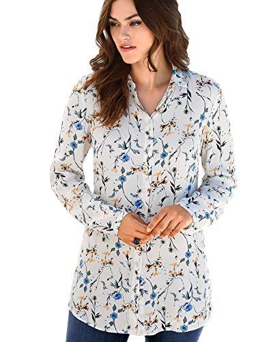 EMILIA LAY Damen Long-Bluse mit Hemdkragen und Blüten-Rispen-Print