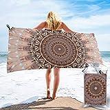OKME Custom Toallas De Playa,Toallas De Baño Rosa Románticas Mandala, Toallas De Playa Mujeres para Correr Camping Deportivo,80x160cm