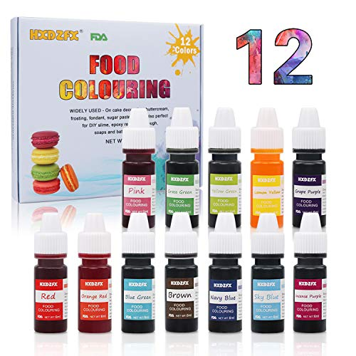 Food Coloring - 12 Color Rainbow Fondant Cake Food Coloring Set for Baking,Decorating,Icing and Cooking - neon Liquid Food Color Dye for Slime Making Kit and DIY Crafts.25 fl.oz.(6ml)Bottles