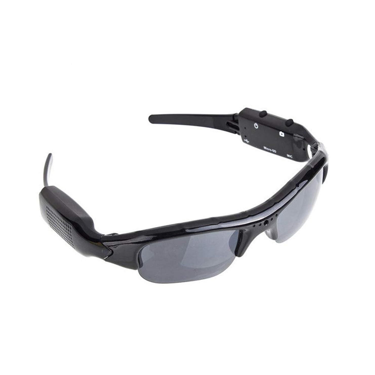 僕の移住するメロドラマティックスポーツサングラス ユニセックスHDスマートカメラメガネ登山サイクリングドライビングサングラスアウトドアスポーツ反射型偏光サングラス 自転車 運転 釣り 野球 テニス (Color : Black, Size : One size)