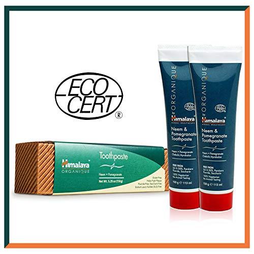 HIMALAYA HERBALS Neem en granaatappel tandpasta | alle natuurlijke tandpasta | fluoridevrije saccharinevrije en SLS-vrije tandpasta | Gecertificeerd Organic van Ecocert – 150 g SAVER PACK - Pack of 2