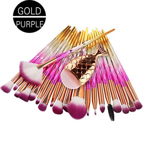 TPulling Lot de 20 pinceaux de maquillage en forme de sirène avec poignée en bambou et tube en argent - Marron - Pour le maquillage des yeux - Correcteur de teint - Pinceau de maquillage - Design spécial - Pinceau de maquillage (I)