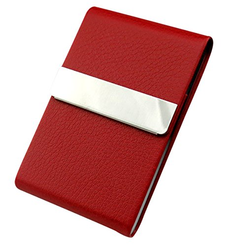 AIEOE Zigarettenetui Zigarettendose Zigarettenbox Visitenkartenetui aus Metall und PU Leder für 7 Zigaretten oder 30 Visitenkarten Rot