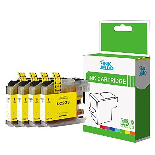 InkJello - Cartucho de Tinta Compatible para Impresora Brother MFC-J4625DW MFC-J480DW MFC-J5320DW MFC-J5620DW MFC-J5625DW MFC-J5720DW MFC-J680DW MFC-J880DW LC-223 (4 Unidades), Color Amarillo