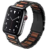 Wolait Compatible with Apple Watch Band 44mm 42mm, Natural Wood Red Sandalwood with Stainless Steel Metal Link band for iWatch SE/ Series 6/5/4/3/2/1 Men -Red Sandalwood+Black Steel