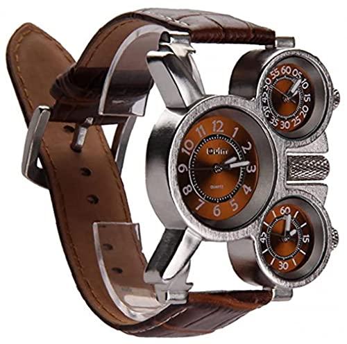 YepYes Reloj Multifuncional para Hombres Tres diales analógicas punteros de luz y cómodo diseño de Correa de Cuero para Hombre Reloj de cronógrafo Deportivo Digital multifunción Impermeable (marrón