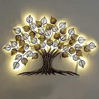 Anant Wood Craft Gold Metal Decorative Tree with Led Wall Art