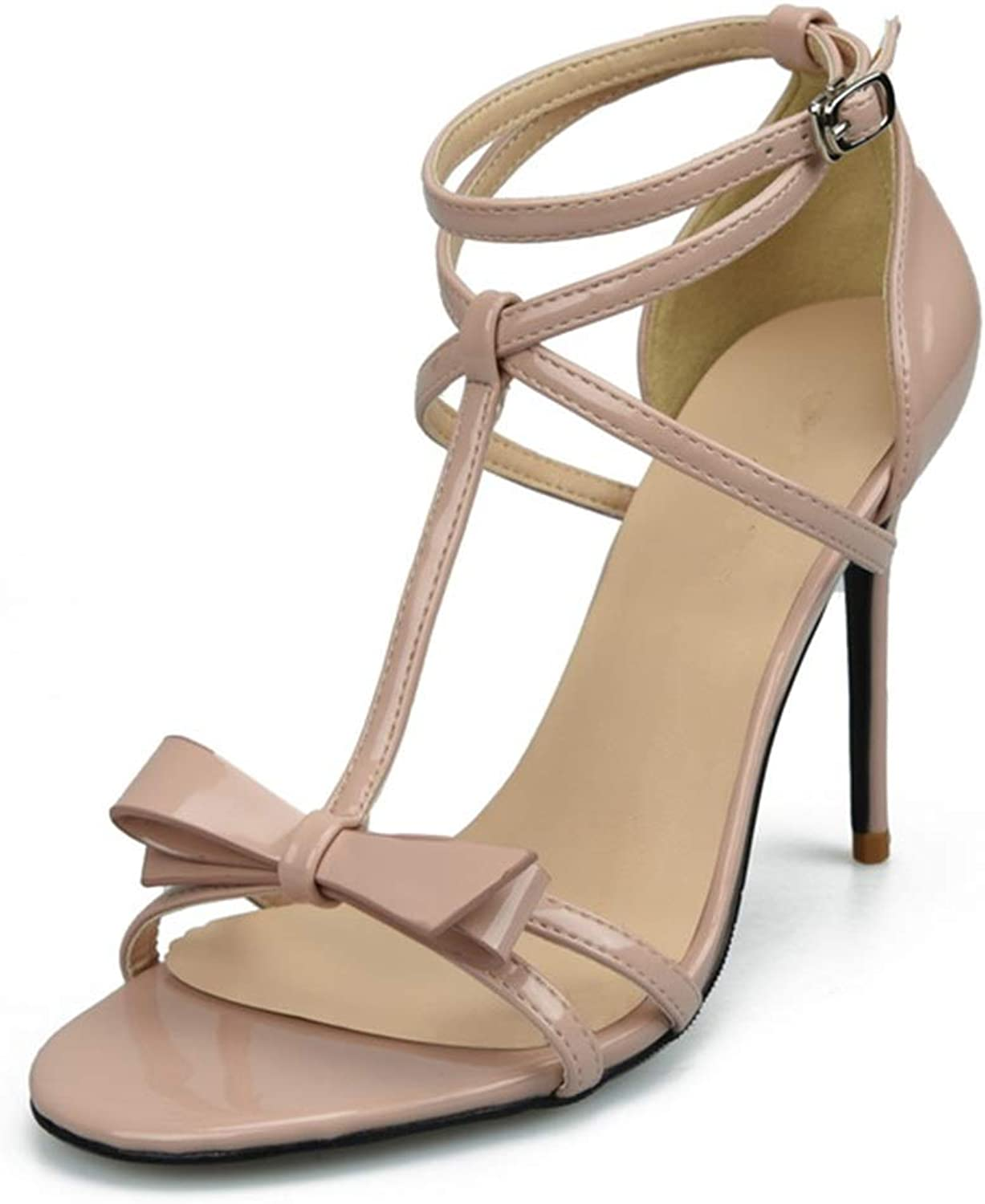 Lindarry Ankle Strap Sandals for Women Stiletto 8cm High Heeled T Strap with Bowtie Open Toe Patent Faux Leather Fashion (color   Nude, Size   33 EU)