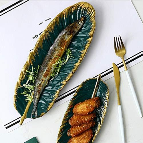 Juego De 2 Bandejas De Cerámica para Joyería, En Forma De Hoja Verde, Tuerca De Sushi para Collar