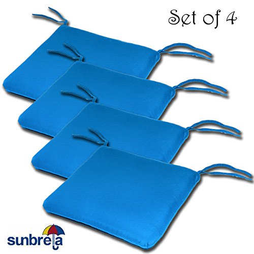 Comfort Classics Inc. Set of 4 20W x 19Dx 2.5H Sunbrella Indoor/Outdoor Knife Edge Style seat pad Cushion in Pacific Blue Made in USA
