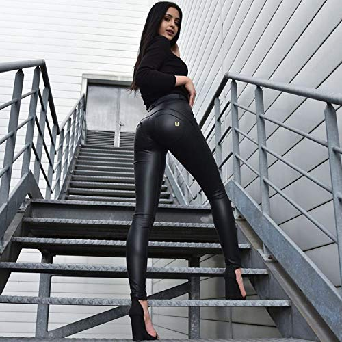 ZPDHY Leggings para Mujer, Fajas para Mujer Pantalones de Cuero ecológico Scrunch Butt Skinny Jeans Mujer Compresión de Pierna Longitud Completa Leggings de Fitness de Cintura Media, 2MWSBL, XXL