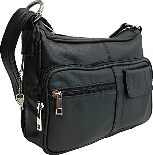 Genuine Leather Locking Concealment Purse CCW Concealed Carry Gun Bag Handbag, Ambidextrous, Black