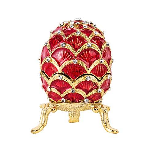 Yu Feng - Portagioie a forma di uovo di Faberge, dipinte a mano, con motivo a petalo rosso