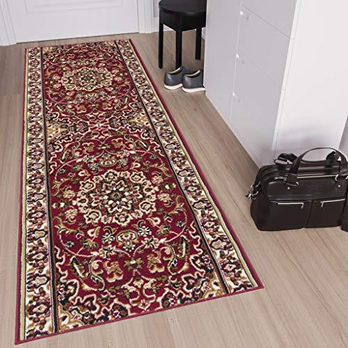 TAPISO Laila Tappeto Passatoia al Metro Corridoio Salotto Cucina Rosso Beige Classico Tradizionale A Pelo Corto 60 x 200 cm