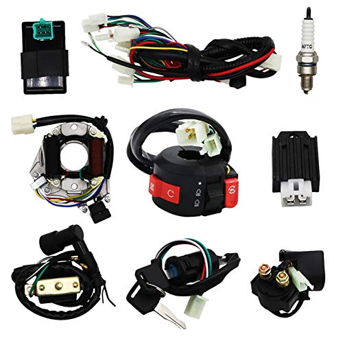Complete Electrics Wiring Harness Stator Coil CDI Solenoid Relay Spark Plug For 4 wheelers Stroke ATV (50cc 70cc 110cc 125cc) Pit Quad Dirt Bike taotao Go Kart By OTOHANS AUTOMOTIVE