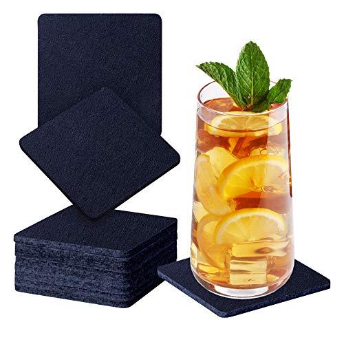 Sidorenko Sottobicchieri in feltro quadrati per bicchieri - Set di 10 - Sottobicchieri di vetro di design in blu scuro per bevande, tazze, bar, vetro - Sottobicchieri da tavolo