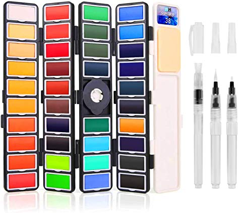 BBLIKE Portable Watercolor Paint Set with 3 Painting Brushes, 38 Assorted Colors Professional Foldable Water Sketch Set for Artists, Kids, Beginners & More
