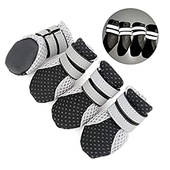 Zunea Bottes d'été souples antidérapantes et réglables pour la protection des pattes de petit chien en maille douce perméable à l'air et résistante à la chaleur des trottoirs