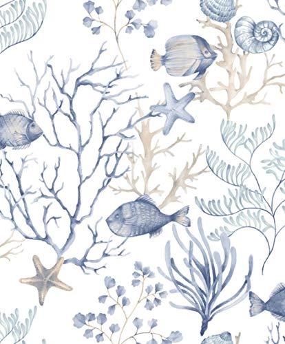 Aquarium mit Fischbesatz auf weißer Basis und hellblau und taupe. Fiori Country 7523