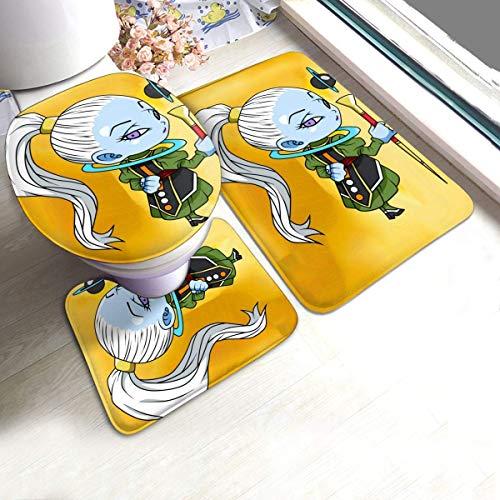 ingshihuainingxianruangangs Anime Dragon Ball Super Vados - Juego de 3 alfombrillas de baño suaves y absorbentes, antideslizantes