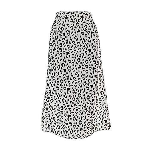 OYZK Verano Mujeres Vintage Elegante Playa Midi Falda Mujeres Leopardo impresión división Sexy Zip Faldas para Mujer Faldas Casuales Femenino (Color : Blanco, Talla : Medium)