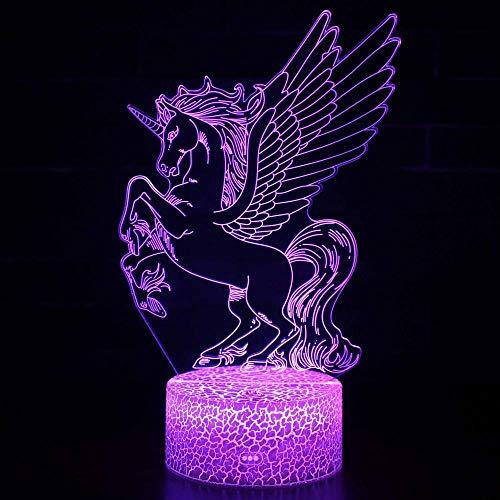 Lámpara de ilusión óptica 3D 3D Luz nocturna Unicornio 14 16 colores y control remoto táctil – Mesita de noche de iluminación regalos juguetes de niñas niños niños para cumpleaños vacaciones Navidad
