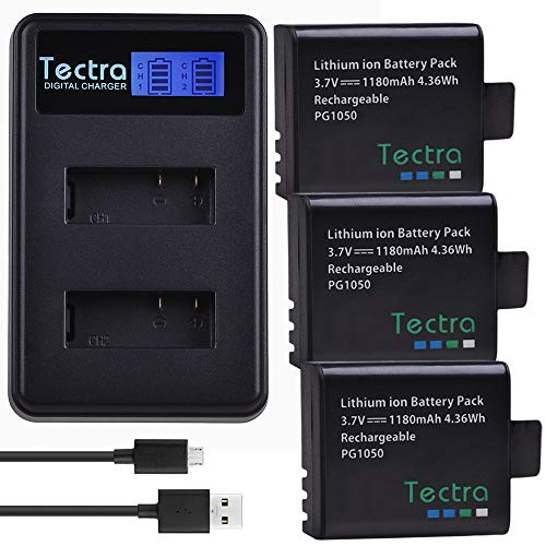 Tectra 3-Pack PG1050 Rechargeable Action Camera Battery and LCD Dual Charger for 4k Action Camera AKASO EK7000, APEMAN, EKEN, Campark, SOOCOO, DBPOWER, Crosstour, FITFORT, DROGRACE
