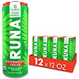 Organic Clean Energy Drink by RUNA, Watermelon Focus | Refreshing Tea Taste | 10 Calories | Powerful Natural Caffeine | Healthy Energy & Focus | No Crash or Jitters | 12 Oz (Pack of 12)